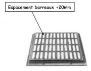 Grille caniveau PMR plate à cadre D 400 - Classe : D 400 - PMR