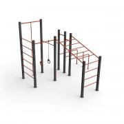 Gymnase extérieur - Poteaux en acier - Anneaux en polyéthylène - Hauteur de chute : 253,5 cm