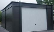Hangar métallique à porte basculante - Toiture en tôles galvanisées laquées   -  Montage rapide et facile