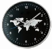 Horloge design monde - Fond planisphère -  Diamètre : 30 X 4,6 cm