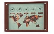 Horloge fuseau horaire - 5 fuseaux horaires - en bois