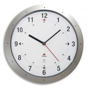 Horloge murale radio pilotée gris métal diamètre 30 cm Hortime - Alba