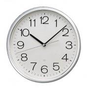 Horloge murale ronde - En plastique gris aluminium - Poids net: 0.68 kg / 1.1 kg