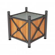 Jardinière acier et bois - Dimensions extérieures (L x l x H): 800 x 800 x 750 mm