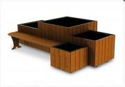 Jardinière avec assise - Habillage en compact rainuré effet lames