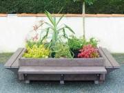 Jardinière avec bancs - Hauteur (cm) : 25 (Assise) - 48 (Bacs de plantations)