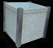 Jardiniere beton urbaine - Taille : 0.82 x 0.82 x 0.82 m en inox plus vérins