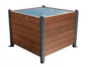 Jardinière bois carré et pieds acier - Dimensions (L x l x H) : 100 x 100 x 78 cm