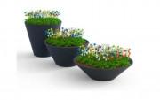 Jardinière cônique en tôle d'acier - Hauteurs : De 40 cm à 110 cm - Diamètres : De 110 cm à 140 cm