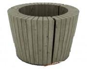 Jardinière ronde en pin - Forme ronde - Arêtes chanfreinées