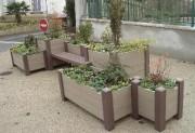 Jardinières rectangulaires en plastique recyclé - Hauteur (cm) : de 57 - 70
