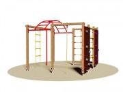 Jeu d'escalade en bois avec corde à grimper - Dimensions (L x P x H) cm : 230 x 230 x 195