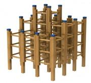 Jeu d'escalade en bois exotique - Dimensions (L x l x H) mm : 1900 x 1900 x 2100