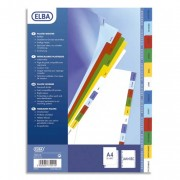 Jeu d'intercalaires A4 en polypropylène mensuel coloré 12 touches - Elba