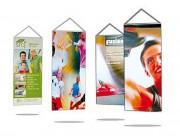 Kakemono publicitaire suspendu - Tissus : Polyester, Satinette ou Supralon