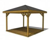 Kiosque ouvert en bois - Dimensions (mm) : 3000 x 3000 x 2840