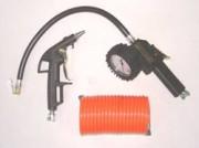 Kit 3 accessoires bricolage - Soufflette bec court, pistolet de gonflage et tuyau spirale 5 m