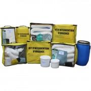Kit absorbant produits chimiques - Couvre des déversements de 10 à 1000 Litres