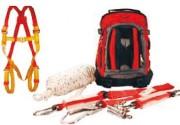 Kit antichute sous forme de sac à dos - Harnais - 1.75m de corde absorbeur avec mousqueton à vis - crochet d'échaffaudage -  20m de ligne d'assurage