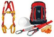 Kit d'échafaudage - Harnais  - 1.75m de corde absorbeur d'énergie avec mousqueton à vis - crochet d'échaffaudage - casque et une paire de gants