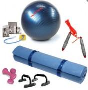 Kit d'entrainement fitness - Matelas aérobic - Haltères - Corde à sauter - Poignées d'appui - Ballon de gym