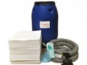 Kit d'intervention pour pollution d'hydrocarbures 250 L - Contient des feuilles absorbantes, boudins absorbants; des feuilles d'essuyage et ...