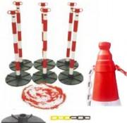 Kit de chaînes et de poteaux - Contenu : 6 poteaux bicolores - 6 bases - 25 mètres de chaîne