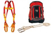 Kit de secours avec harnais à attache frontale - Harnais - cordeau restreint et ajustable avec 2 mousquetons à vis - sac à dos