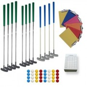 Kit minigolf 5 à 7 pistes - 18 clubs, 50 balles, supports et cartes