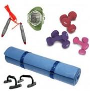 Kit musculation - cardio - Matelas aérobic - Haltères - Corde à sauter - Poignées d'appui - Montre cardio
