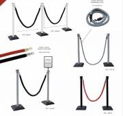 Kit poteaux PVC et cordons - Longueur cordon : 2 m