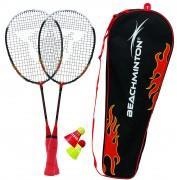 Kit raquettes beachminton - 2 raquettes 58 cm + 2 volants + sac de transport + règles du jeu
