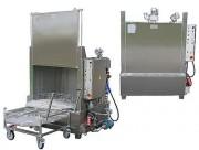 Lavage et nettoyage à chargement frontal - Muni de chariot avec un panier rotatif télescopique ou un châssis fixe