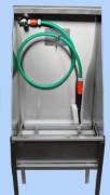 Lave bottes manuel mono poste sur pieds - Caisson inox 304L  -  Brosse de lavage, à poils durs