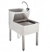 Lave-mains avec vide-seau - - Matière : Inox - Dim ( L x l x H ) : 500 x 600 x 900 mm- Profondeur : 600-700 mm