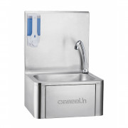 Lave-mains inox commande fémorale avec distributeur