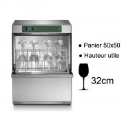 Lave verre professionnel à ouverture frontale - Panier carré de 500 x 500 mm - Hauteur utile de lavage : 320 mm