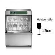 Lave-verre professionnel à simple paroi - Panier de 350 x 350 mm - Hauteur utile de lavage : 250 mm