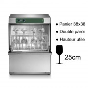 Lave-verre professionnel double paroi - Panier de 380 x 380 mm - Hauteur utile de lavage : 250 mm