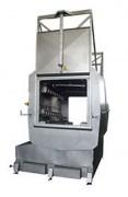 Laveuse palbox à système rotatif - Tapis de rouleaux inox à l'entrée du tunnel avec capacité pour un PAL-BOX