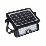 LED Solaire 5W avec Détecteur - Le Projecteur LED Solaire 5W avec Détecteur de Présence PIR de couleur noire se distingue par son panneau solaire et son design rotatif et portatif.