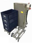 Empileur dépileur de bacs à hauteur ergonomique