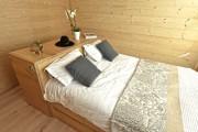 Lit double a rangement en bois naturel - Dimensions : 1600 x 2000 mm