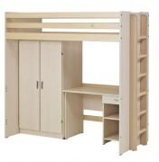Lit superposé avec bureau et armoire - Livré démonté