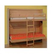 Lits superposés escamotables en bois - Structure en bois - Sommier lattes - MLJ4