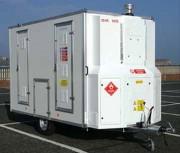Location caravane de désamiantage - Local technique pour aspirateur THE et approuvé TUV et RDW