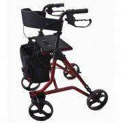 Déambulateur à roues avec sac filet amovible - Déambulateur larges roues avec passe-trottoir