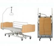 Location lit médical avec potence et sangle - Lit médicalisé 6 roues pour maintien à domicile