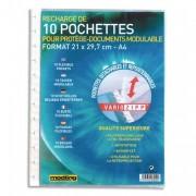 Lot de 10 pochettes amovibles en polypropylène recharge pour protège documents Vario Zip - elbaprint