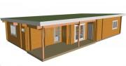 Maison bois à toit plat - Kit madrier massif de 150 M² - Écologique et économique